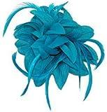 Llamativo Azul Flores Tocado/corsé con pétalos de punta y pluma zarcillos Set en un clip de pelo y broche. Ideal para bodas, bautizo y otras ocasiones especiales.