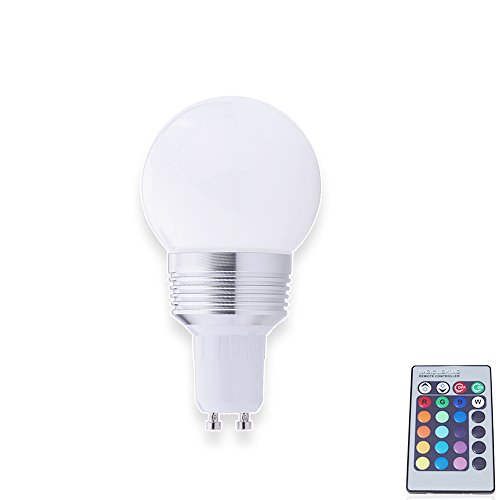 4X Gu10 3W Led Rgb Colorful Light Energy Saving Lamp Remote Threaded Port