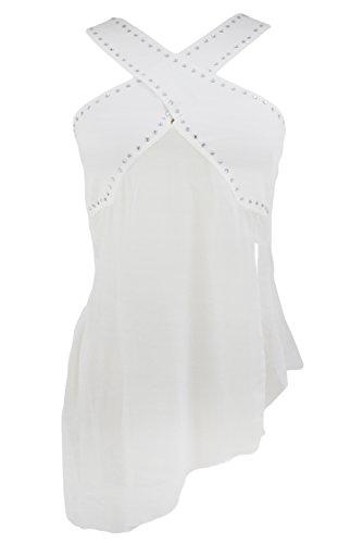 O&W Women's White Casual Loose Diamond Wide Crisscross Straps Irregular Chiffon Club Top Blouse S