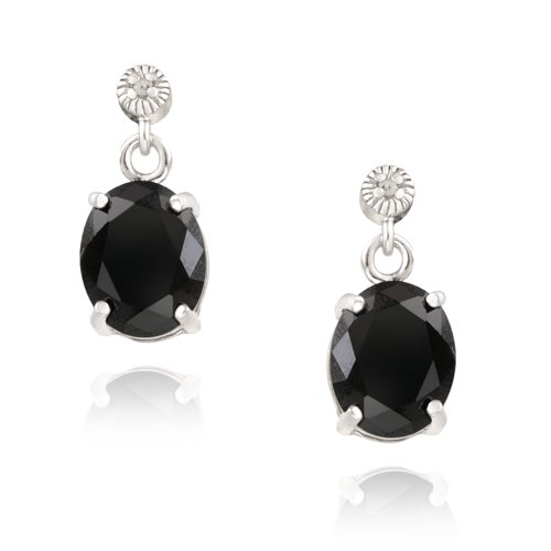 Sterling Silver 6.2ct Black Spinel & Diamond Accent Oval Dangle Earrings