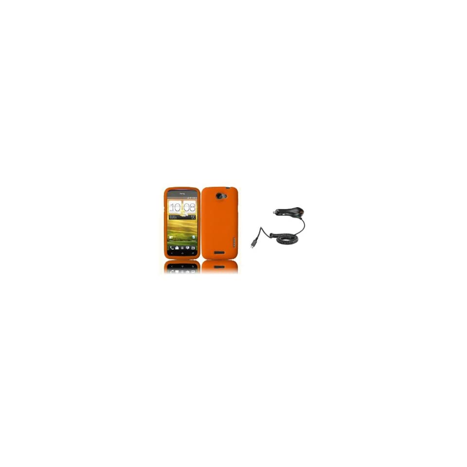 HTC One S (T Mobile) Premium Combo Pack   Orange Silicone Soft Skin Case Cover + Car Charger + Zombeez Key Tag