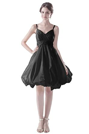 Dresstells Short Straps Bridesmaid Dress For Girls UK Size 6 Black