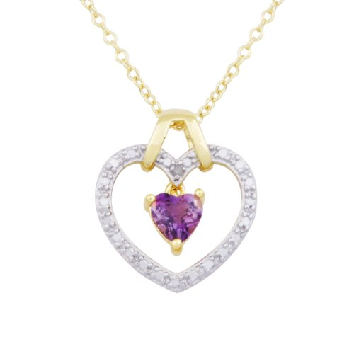 18k Yellow Gold Plated Sterling Silver African Amethyst Pendant Necklace , 18