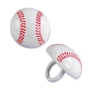 Baseball Cupcake Rings - 24 ct - 1