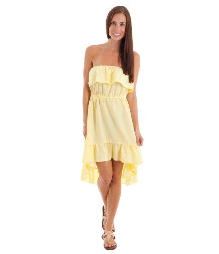2Luv Women'S Ruffle Trim High Low Hem Strapless Dress Yellow S(Im1828Ak)