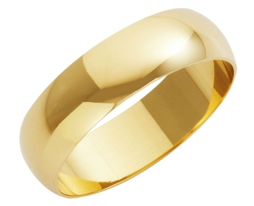 Wedding Ring, 9 Carat Yellow Gold Heavy D-Shape, 6mm Band Width