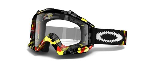 Oakley maschera da motocross unisex 57-704 PROVEN MX Shattered Yellow/Red/Clear
