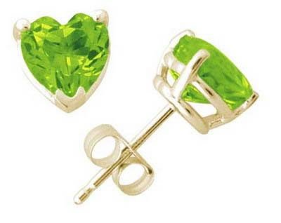5 mm Heart Shape Peridot Earrings