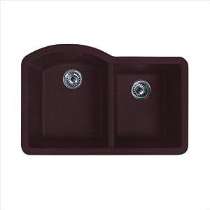 "Swanstone Classics 32"" x 21"" Undermount Double Bowl Kitchen Sink Finish: Espresso"
