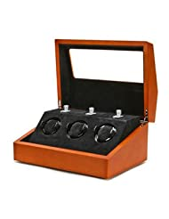 Multi-Function Brown 3 Slot Watch Winder