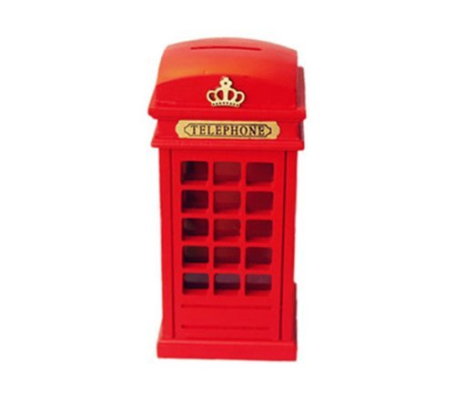 Red Wooden Britain telephone booth coin banks booth money box piggy bank - 1
