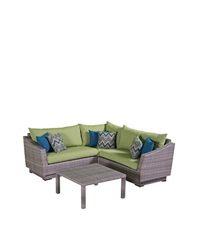 RST Brands Cannes 4-Piece Corner Sectional and Table, Green