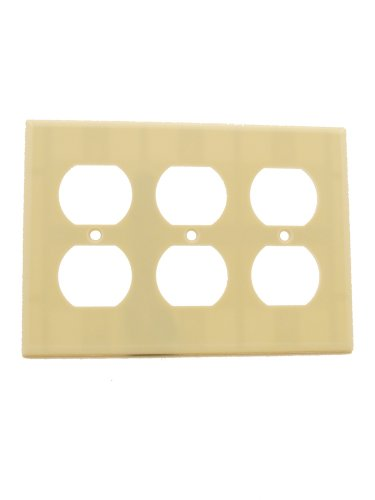 Leviton 86030 3-Gang Duplex Device Receptacle Wallplate, Standard Size, Thermoset, Device Mount, Ivory