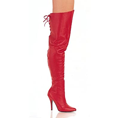 5 Inch Sexy Thigh Boot With Lace At The Rear Red Leather High Heel Boot