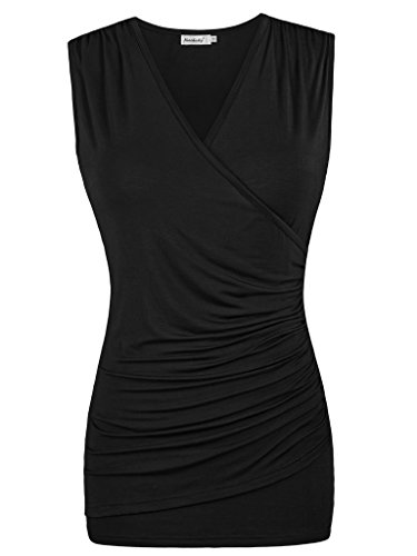 Ninedaily Women's Tank Top V Neck Ruched Camisole Black M