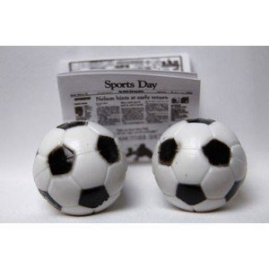 Dollhouse Soccer Ball 2pc Black White by Superior Dollhouse Miniatures