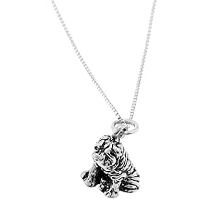 Sterling Silver Shar Pei Dog Necklace