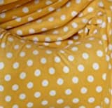 YELLOW POLKA DOT SOFT POLAR FLEECE FABRIC MATERIAL ANTI PIL YELLOW POLKA DOT SOFT FEEL 150cm WIDTH SOLD BY 1/2 METRE UNIT