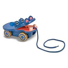 Melissa & Doug Deluxe Happy Hippo Pull Toy