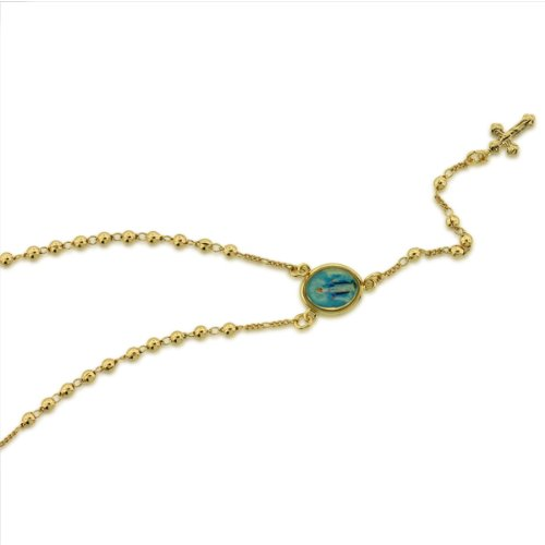 18K Gold Filled Enamel Painting Rosary Necklace