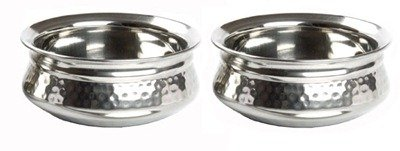SSSilverware Stainless Steel Serving Dublewall Handi Set Of 2 Pcs With Dia- 15 Cm & 17 Cm