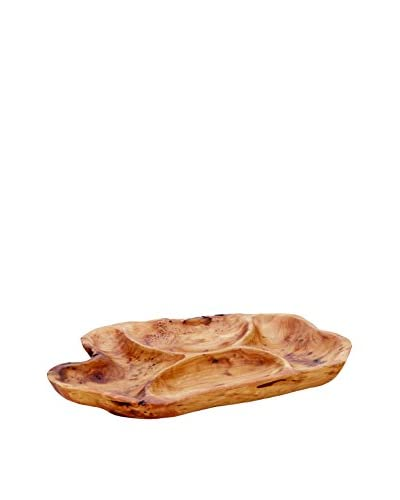 Torre & Tagus Costa Carved Wooden 4-Section Platter