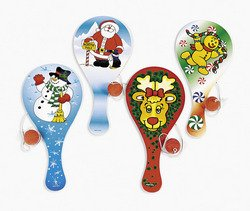 12 Wooden Christmas Holiday Paddleball Games - 1