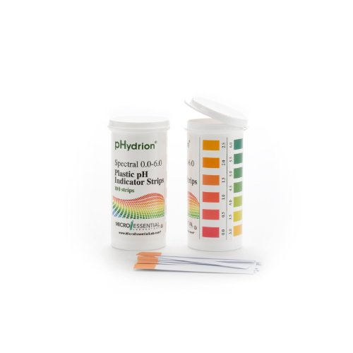 Micro Essential Lab 9200 Hydrion Spectral Plastic pH Test Strips, 0.0 - 6.0, 100 strips/vial (case of 6 vials)