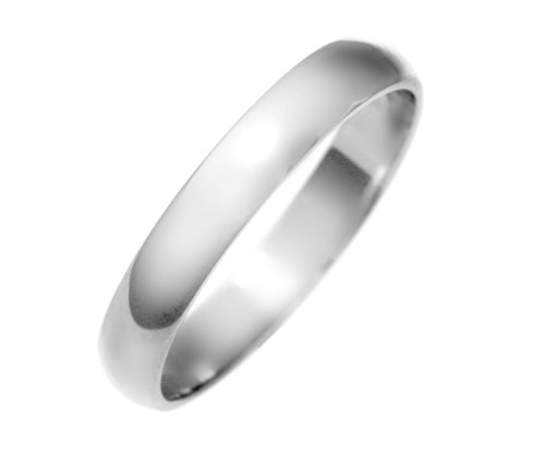 9 ct White Gold 3mm D Shape Medium Gents Wedding Band/Ring 2.3 Grams Size R