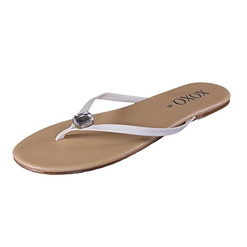 Xoxo Women'S Tara Jeweled Thong Sandals In White Size 6 front-37889