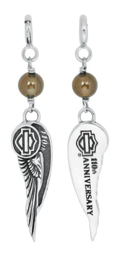 Harley-Davidson Womens .925 Silver 110th Anniversary Brown Topaz Bead Charm w/ Citrine Stone Charm