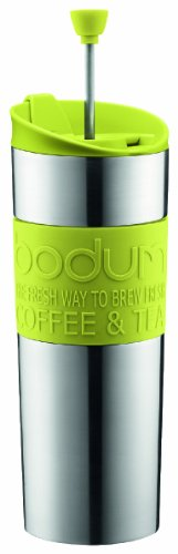 Bodum Double-Wall Stainless Steel Travel Coffee And Tea Press With Bonus Lid, 0.45L, 16Oz, Green