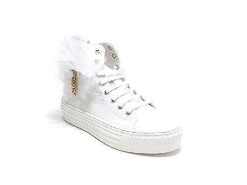 Scarpa bambina ragazza,Twin set HS68BQ, sneakers in tessuto, colore bianco