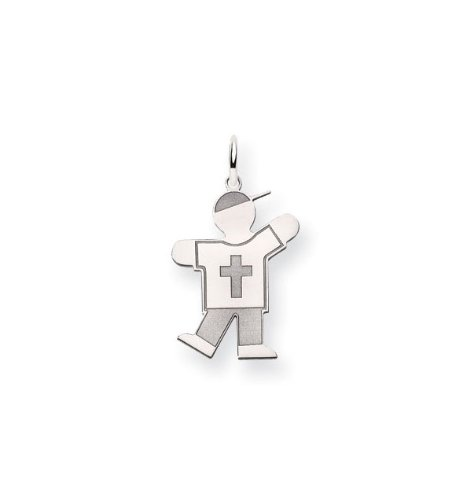 14k White Gold Boy T Shirt Cross Jeans Charm Pendant