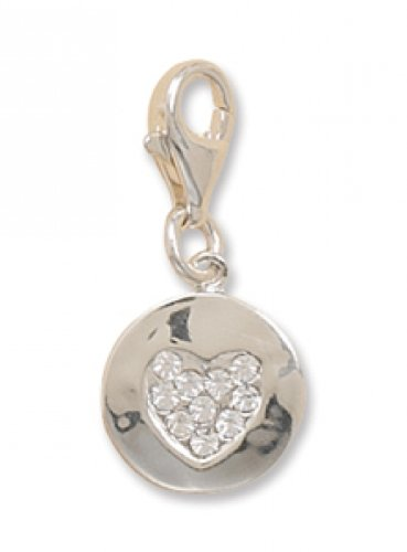MMA Silver - Crystal Heart on a Disc Charm with Lobster Clasp