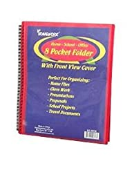 12 PACK: 8 Pocket Folder with Front View Cover-11.6\