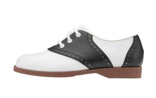 Hip Hop 50S Shop Girl Saddle Oxford Black/White Shoes, 2 M Us Child