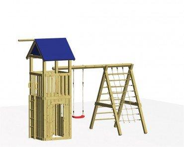 Winnetoo Spielturm Set 6 - Stelzenhaus mit Schaukelanbau und Klettermöglichkeit