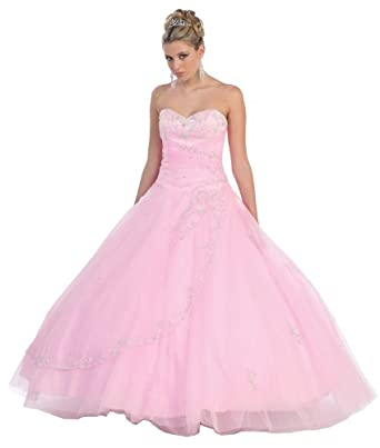 Ball Gown Formal Prom Wedding Dress #586 (4, Pink)