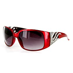 Surf's Up Women's Fashion Bifocal Sunglasses with Genuines Swarovski Crystals. Read Your Cellphone or GPS While Driving or Outdoors
