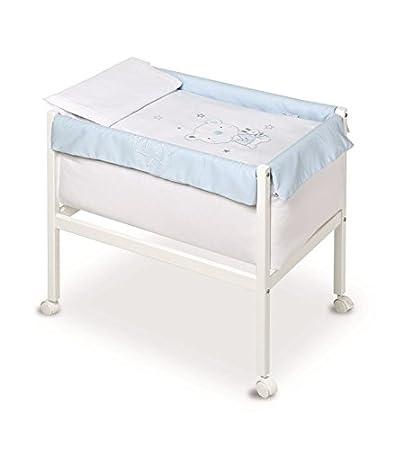 Pirulos 20013014–Minicuna quadrata, motivo orsetto Star, 61x 90x 80cm, colore: bianco/blu