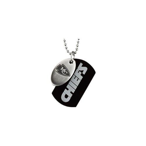 3 St Steel 45mm Kansas City Chiefs NFL Football Team Jewelry Men 2 Dog Tag W/Chain