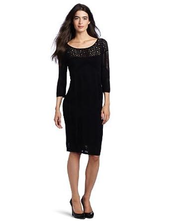 (新品)Catherine Malandrino Women Pointelle Dress女子黑色中袖连衣裙$83.39