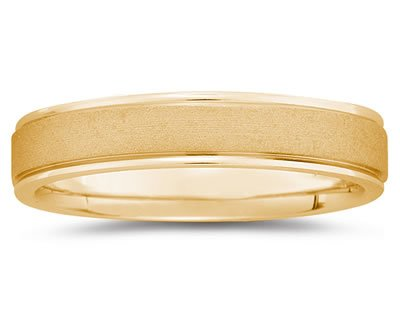 5mm Brushed Center Men's Wedding Band in 14k Yellow Gold