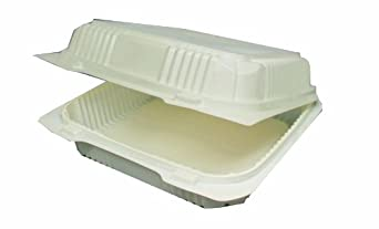 "Choice-Pac  Polypropylene Square Hot Clamshell Container with 2-Point Front Closure, 8-3/8"" Length x 8-1/4"" Width x 3"" Height, Large (Case of 300)"