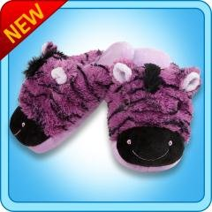 My Pillow Pets Zany Zebra Large Slippers(Up To Ladies Size 9)