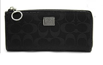 Coach Signature Poppy Slim Zip Wallet 46438 Black