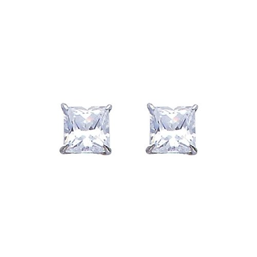 14K White Gold 5mm Princess Solitaire Basket CZ Stud Earrings with Silicone-back