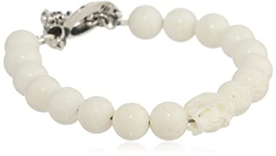 "King Baby 10 mm White Coral Bead White Skull and Silver Clasp Bracelet, 8.75"" from King Baby"