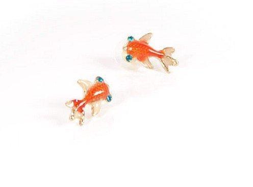 Under the Sea Orange Carp Koi Gold Fish Goldfish Stud Earrings